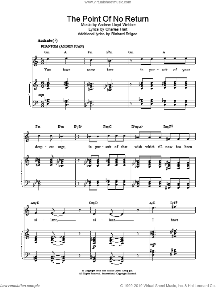 The Point Of No Return sheet music for voice, piano or guitar by Andrew Lloyd Webber, intermediate voice, piano or guitar. Score Image Preview.
