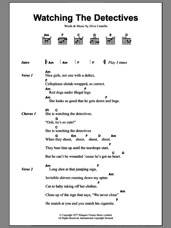 Watching The Detectives sheet music for guitar (chords) by Elvis Costello. Score Image Preview.