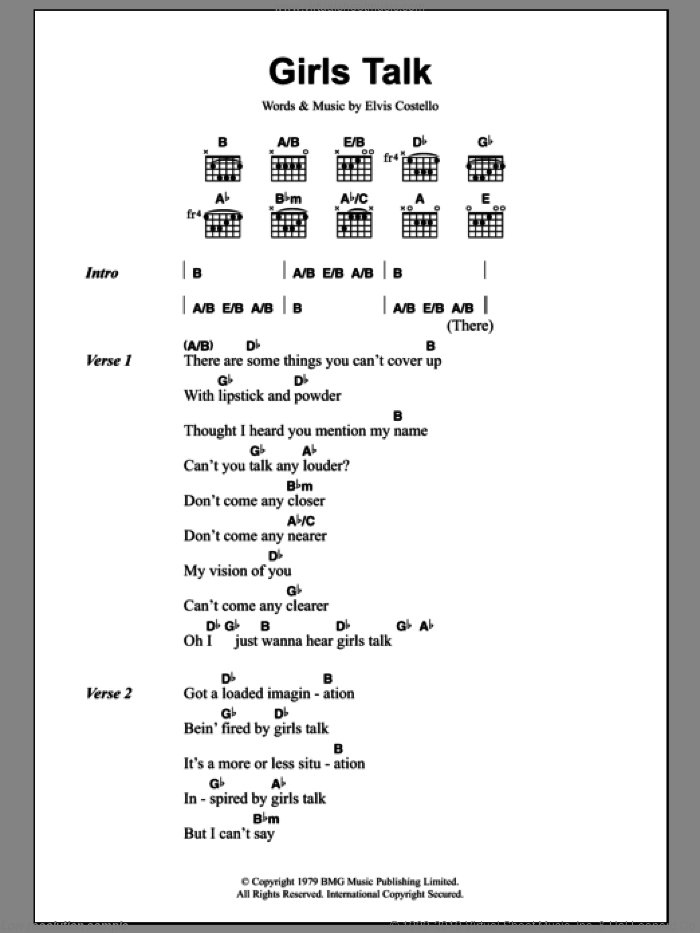 Girls Talk sheet music for guitar (chords) by Elvis Costello