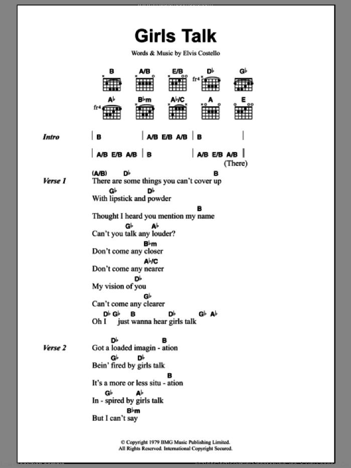 Edmunds - Girls Talk sheet music for guitar (chords) [PDF]