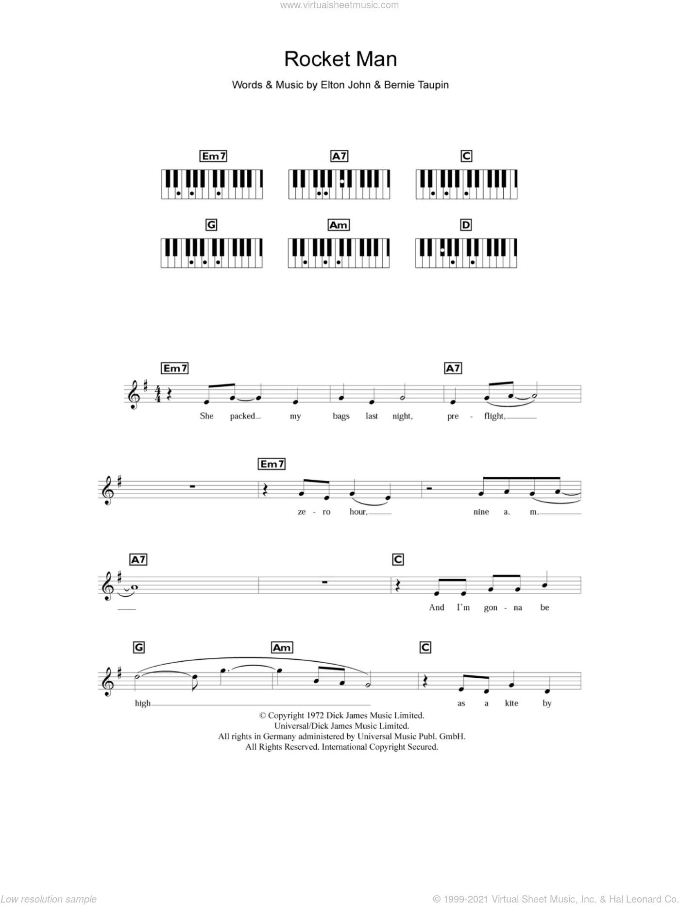 Rocket Man sheet music for piano solo (chords, lyrics, melody) by Bernie Taupin and Elton John. Score Image Preview.