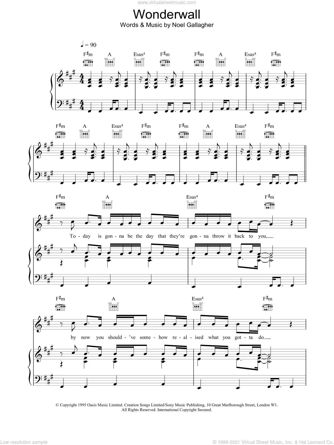 Wonderwall sheet music for voice, piano or guitar by Oasis, intermediate skill level