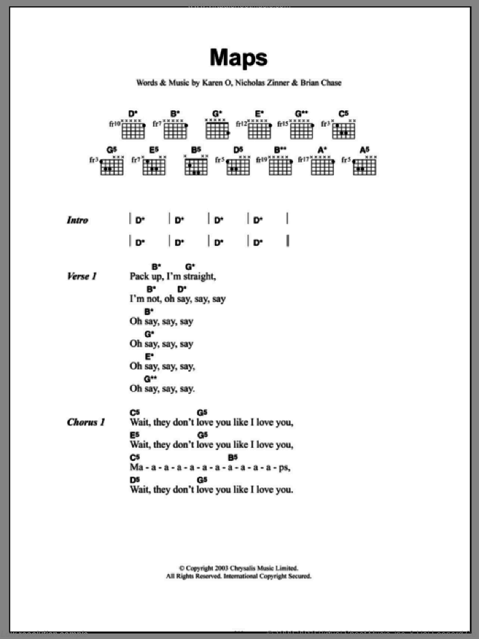 Maps sheet music for guitar (chords) by Yeah Yeah Yeahs, Brian Chase, Karen O and Nick Zinner, intermediate skill level