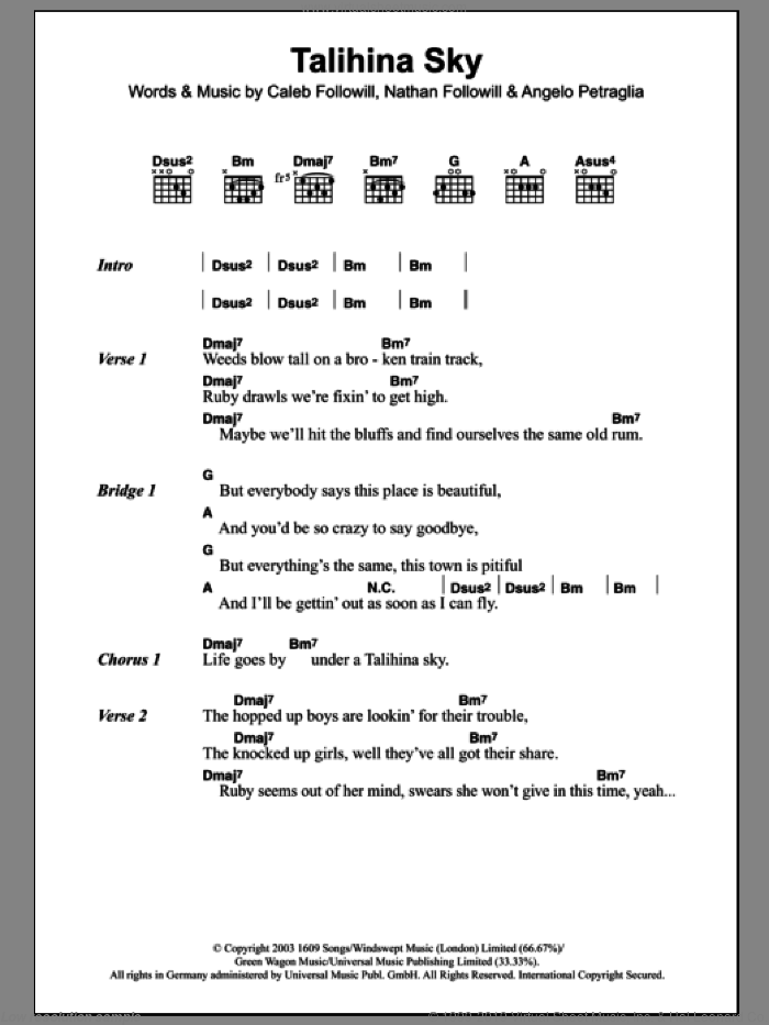 Talihina Sky sheet music for guitar (chords) by Kings Of Leon, Angelo Petraglia, Caleb Followill and Nathan Followill, intermediate. Score Image Preview.