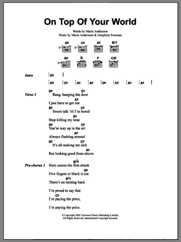On Top Of Your World sheet music for guitar (chords, lyrics, melody) by Maria Andersson