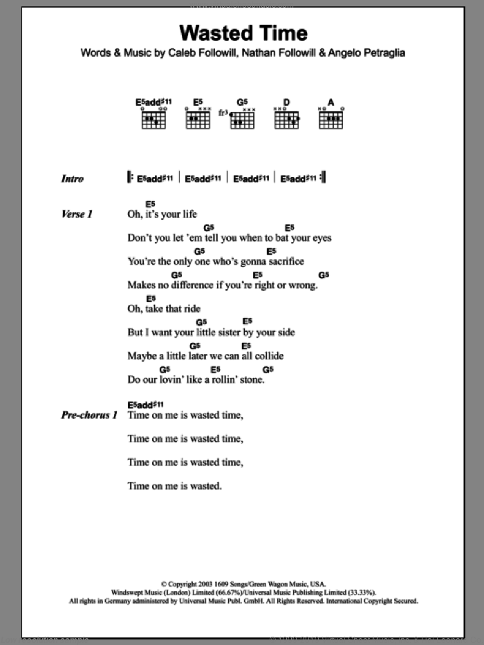 Wasted Time sheet music for guitar (chords) by Nathan Followill