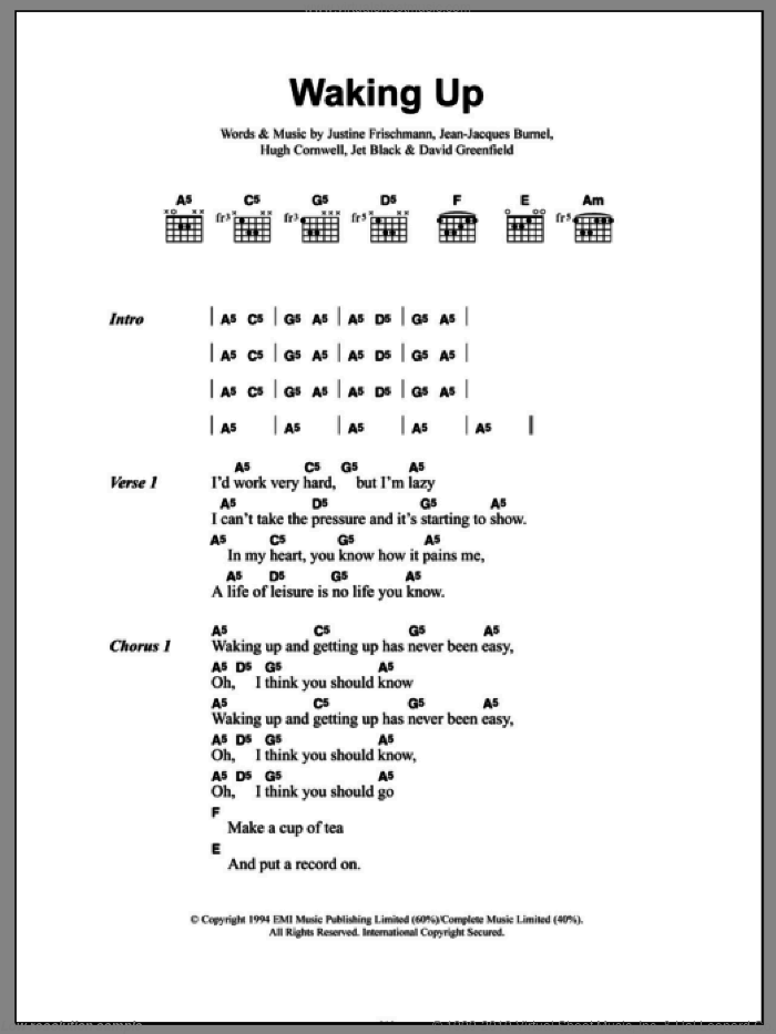 Waking Up sheet music for guitar (chords) by Justine Frischmann, David Greenfield and Jet Black. Score Image Preview.