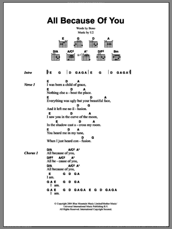 All Because Of You sheet music for guitar (chords) by U2 and Bono, intermediate skill level