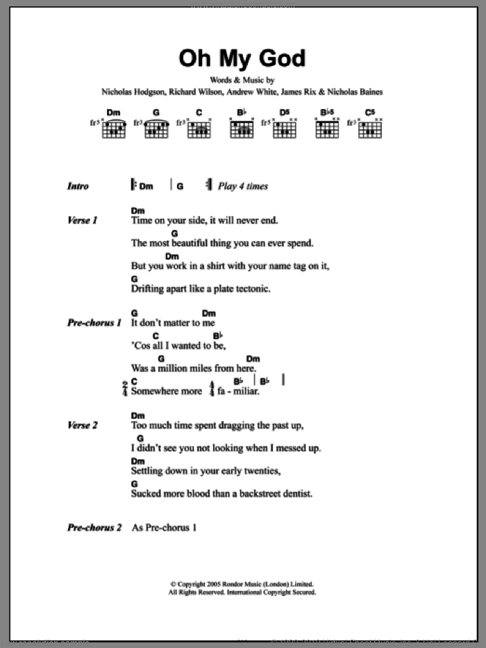 Oh My God sheet music for guitar (chords) by Kaiser Chiefs. Score Image Preview.