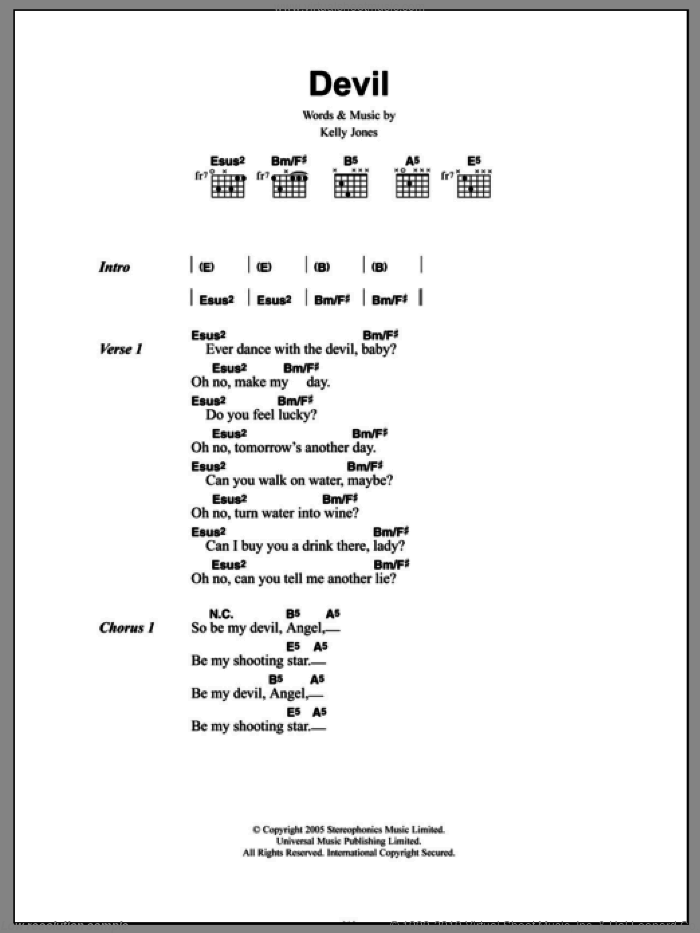 Devil sheet music for guitar (chords, lyrics, melody) by Kelly Jones