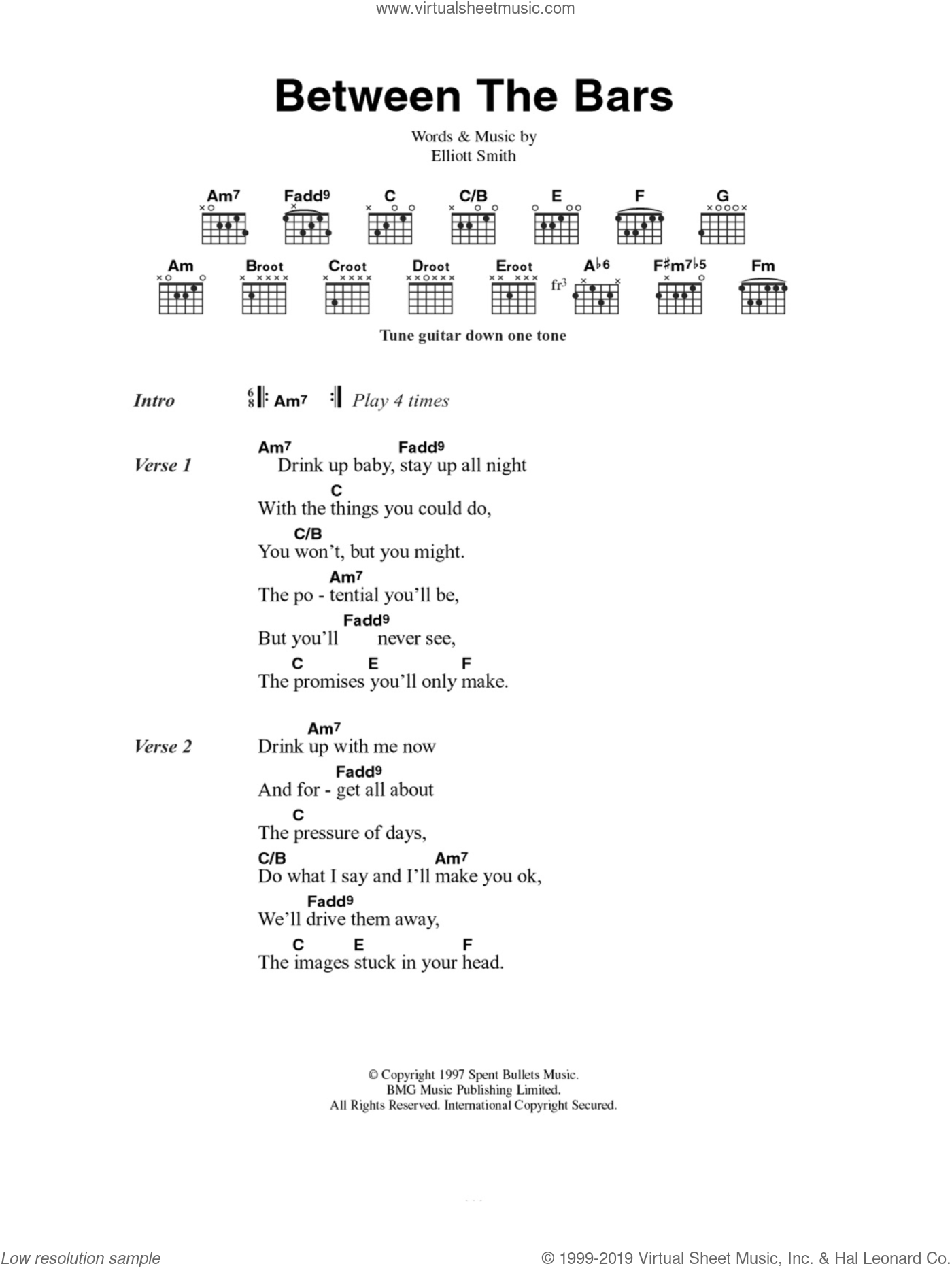 Between The Bars sheet music for guitar (chords) by Elliott Smith. Score Image Preview.