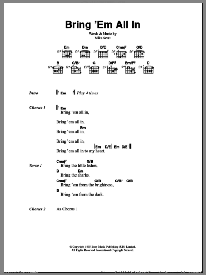 Bring 'Em All In sheet music for guitar (chords) by Mike Scott. Score Image Preview.