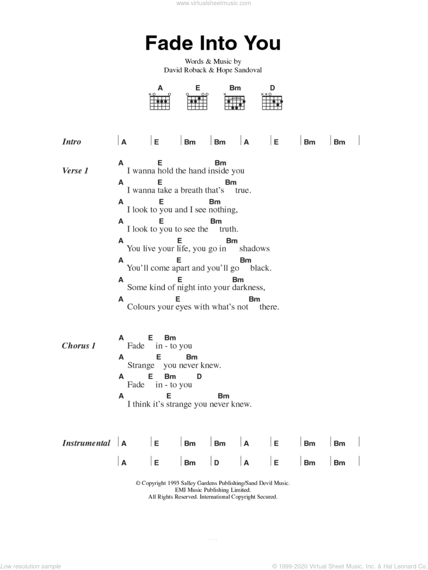 Fade Into You sheet music for guitar (chords) by Hope Sandoval