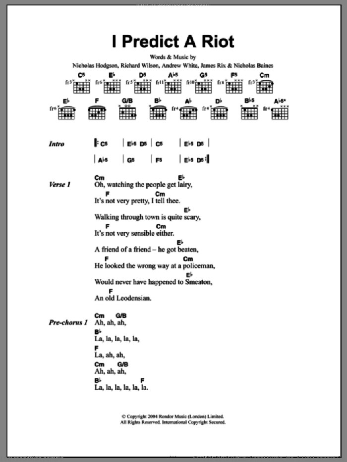 I Predict A Riot sheet music for guitar (chords, lyrics, melody) by Richard Wilson