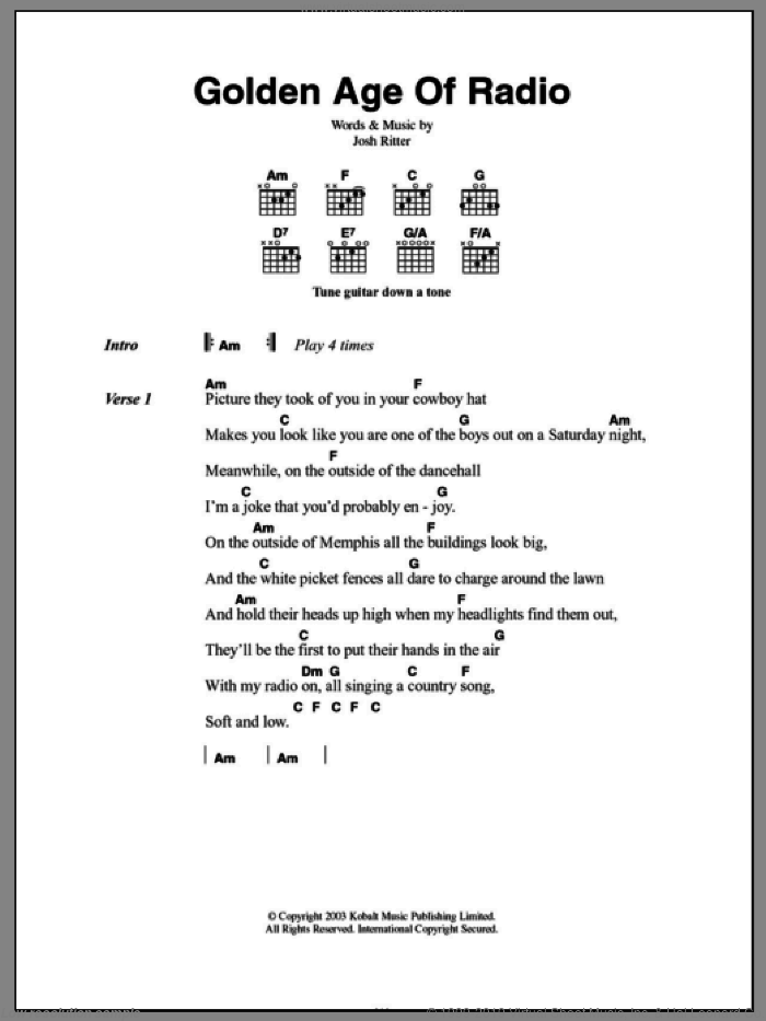 Golden Age Of Radio sheet music for guitar (chords) by Josh Ritter