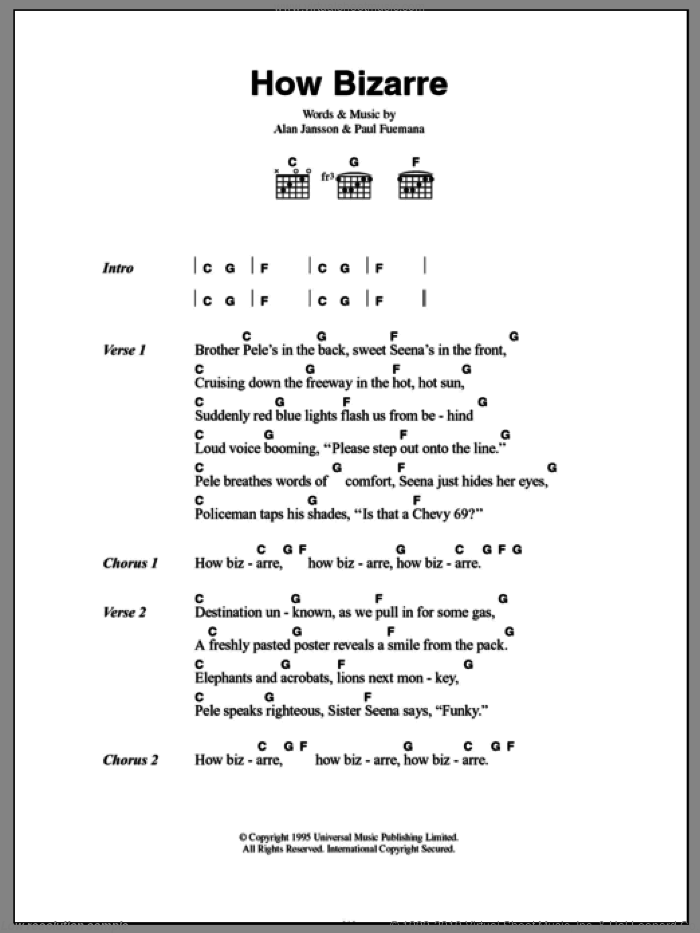 How Bizarre sheet music for guitar (chords) by OMC. Score Image Preview.