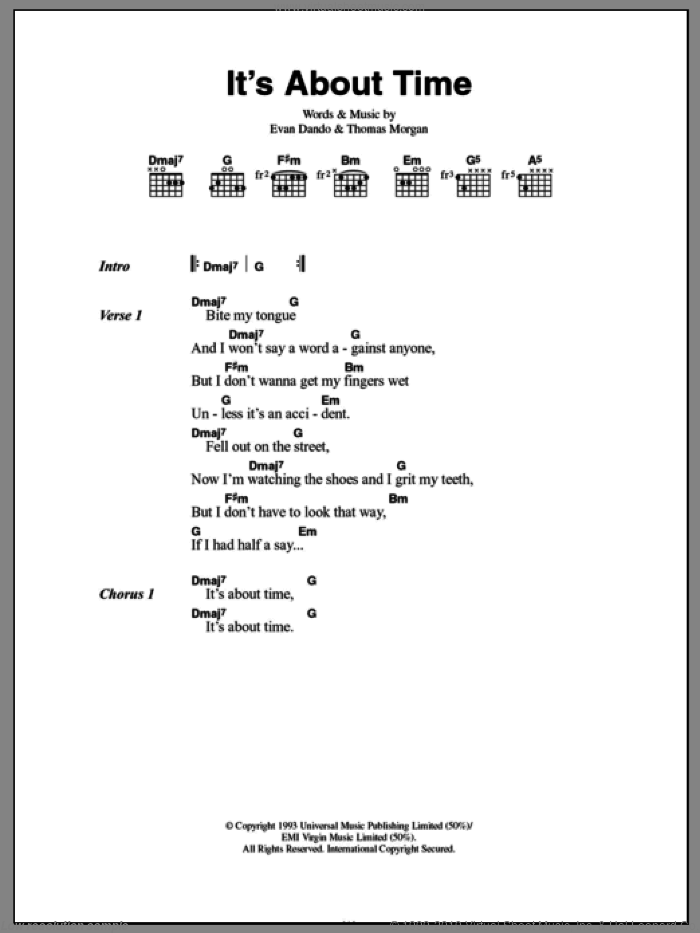 It's About Time sheet music for guitar (chords) by Lemonheads, intermediate. Score Image Preview.