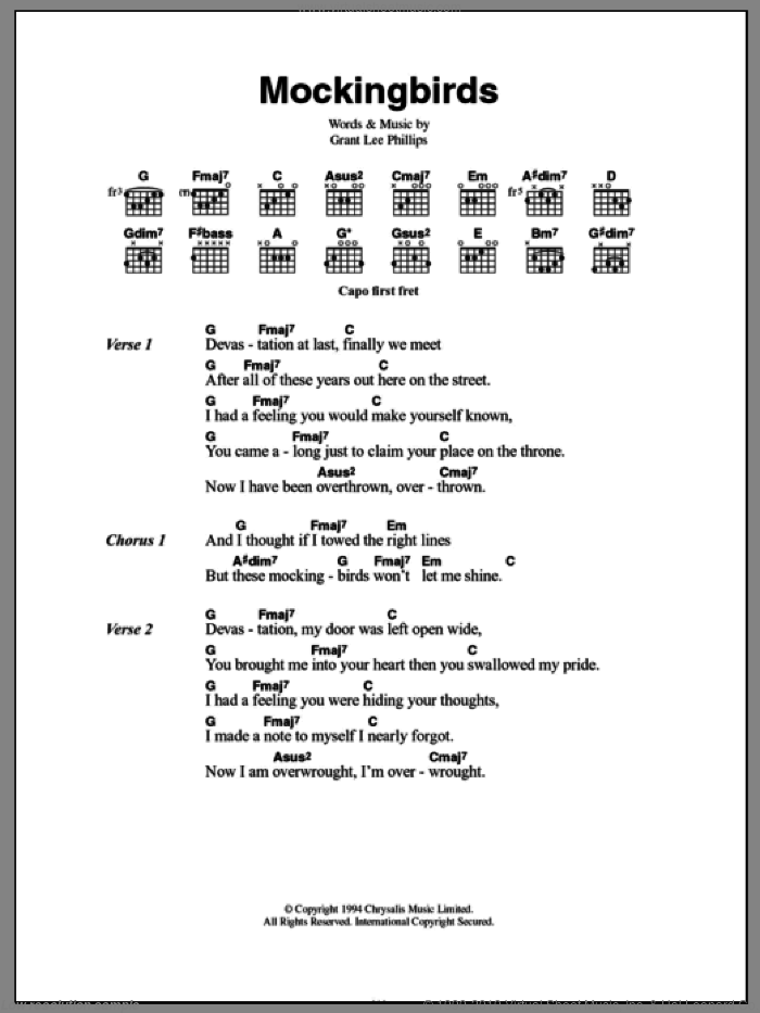 Mockingbirds sheet music for guitar (chords) by Grant Lee Phillips