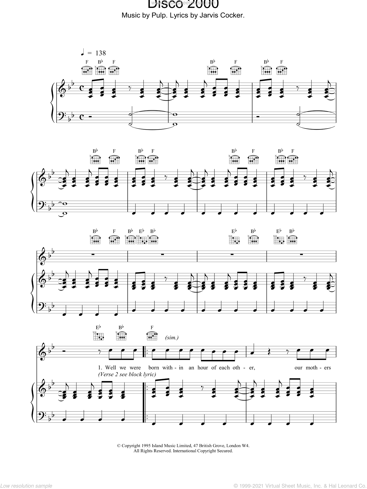 Disco 2000 sheet music for voice, piano or guitar by Pulp, intermediate. Score Image Preview.