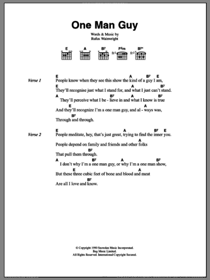 Wainwright - One Man Guy sheet music for guitar (chords) [PDF]
