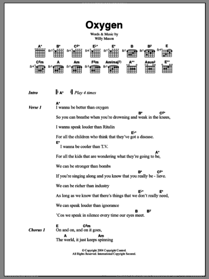 Oxygen sheet music for guitar (chords, lyrics, melody) by Willy Mason