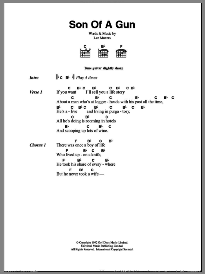 Son Of A Gun sheet music for guitar (chords, lyrics, melody) by Lee Mavers
