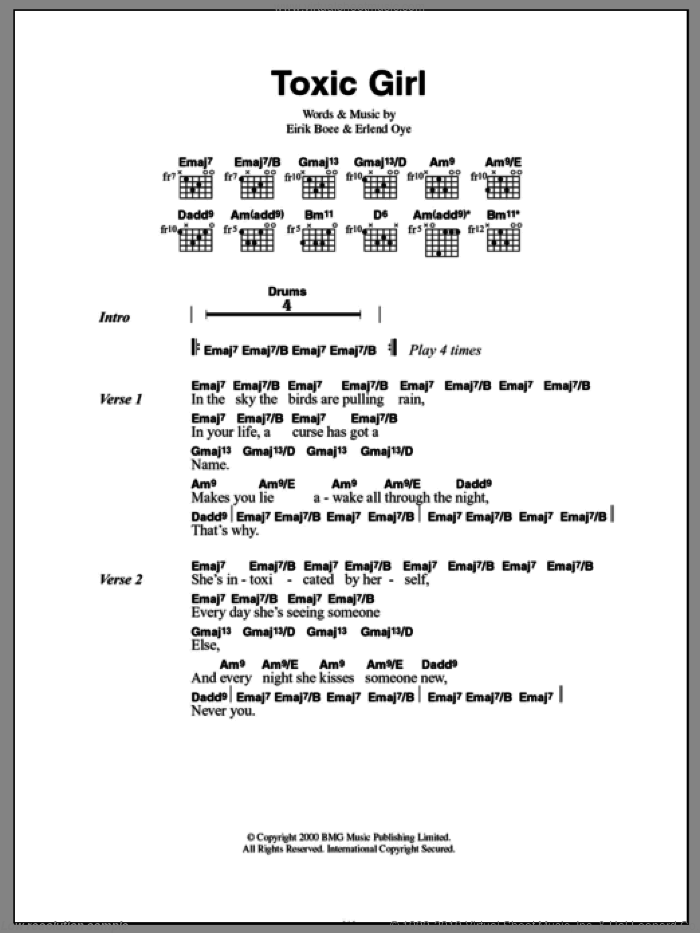Toxic Girl sheet music for guitar (chords) by Kings Of Convenience, Eirik Boee and Erlend Oye, intermediate skill level