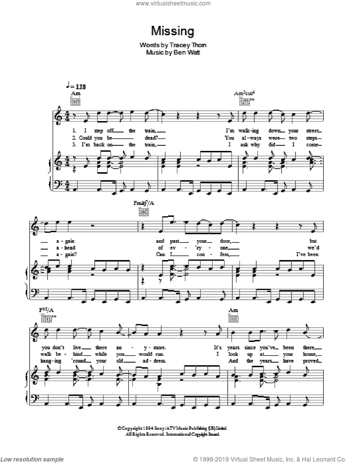 Missing sheet music for voice, piano or guitar by Tracey Thorn