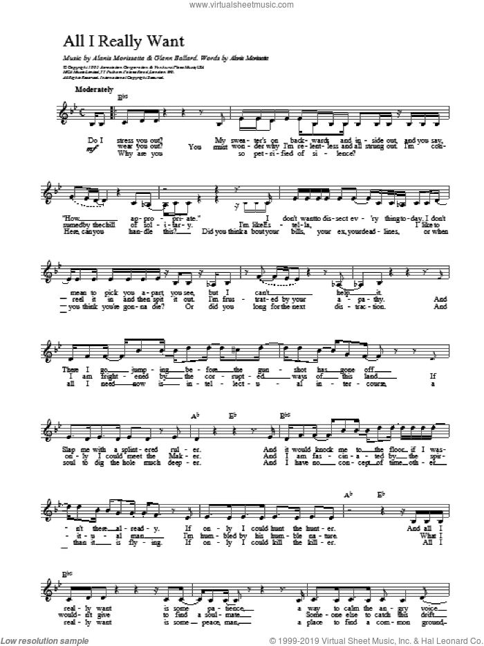 All I Really Want sheet music for voice and other instruments (fake book) by Alanis Morissette, intermediate skill level