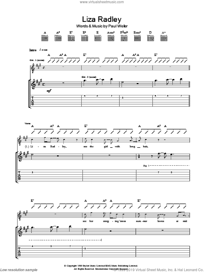 Liza Radley sheet music for guitar (tablature) by The Jam and Paul Weller, intermediate guitar (tablature). Score Image Preview.
