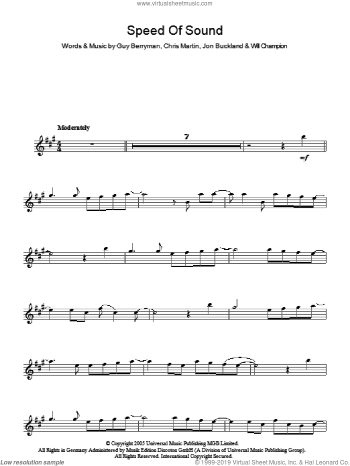 Speed Of Sound sheet music for voice and other instruments (fake book) by Coldplay, Chris Martin, Guy Berryman, Jon Buckland and Will Champion, intermediate. Score Image Preview.