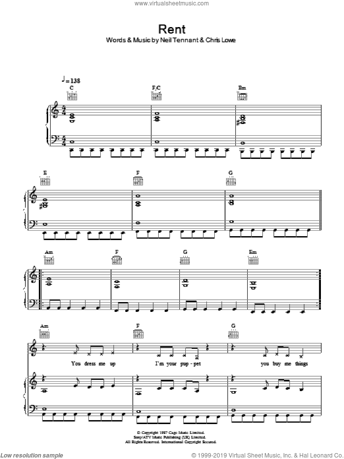 Rent sheet music for voice, piano or guitar by The Pet Shop Boys, Chris Lowe and Neil Tennant, intermediate skill level