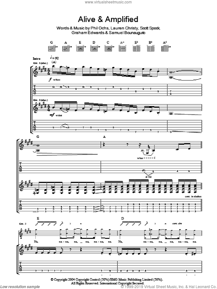 Alive And Amplified sheet music for guitar (tablature) by Mooney Suzuki and Phil Ochs. Score Image Preview.