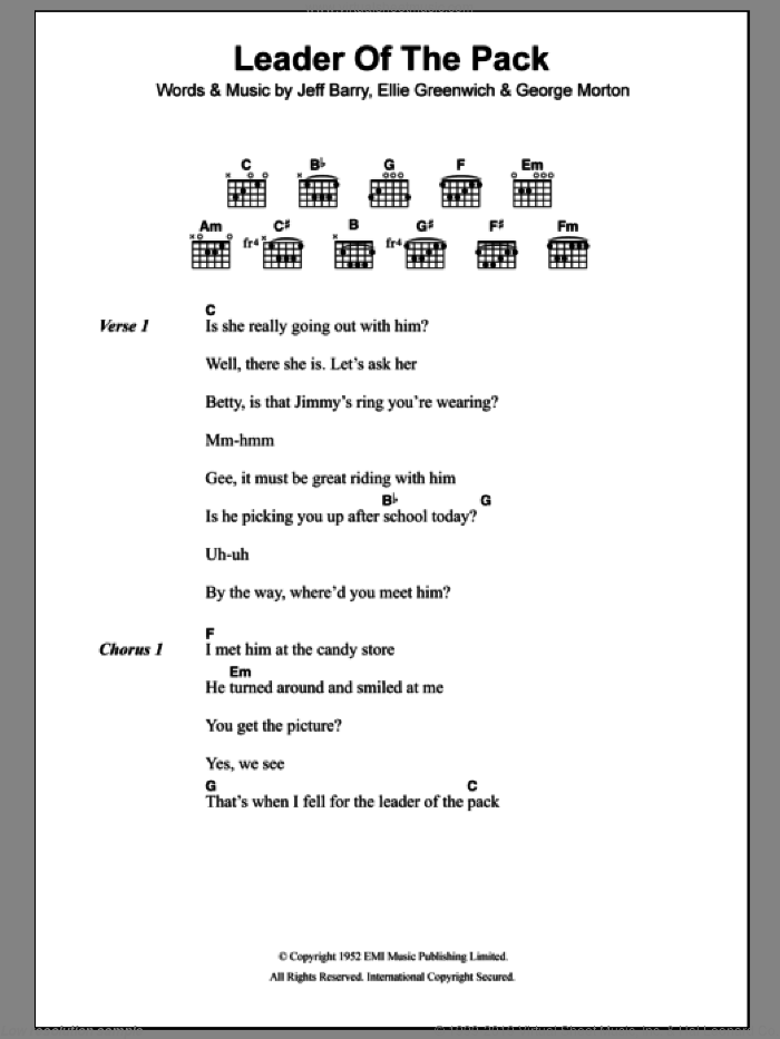 Leader Of The Pack sheet music for guitar (chords) by The Shangri-Las, Ellie Greenwich and Jeff Barry, intermediate guitar (chords). Score Image Preview.