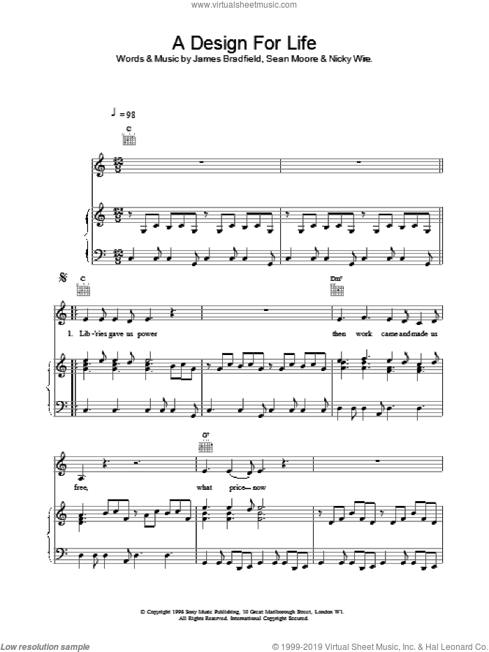 A Design For Life sheet music for voice, piano or guitar by Manic Street Preachers. Score Image Preview.