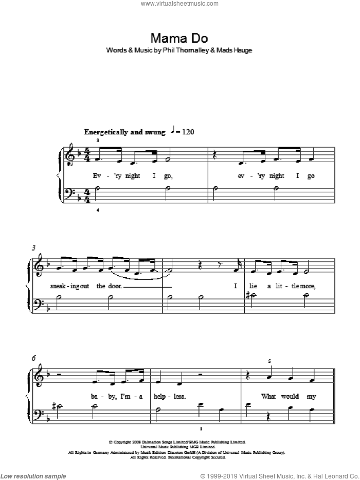 Mama Do sheet music for piano solo by Pixie Lott, easy piano. Score Image Preview.