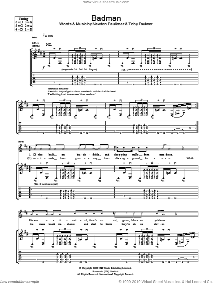 Badman sheet music for guitar (tablature) by Toby Faulkner