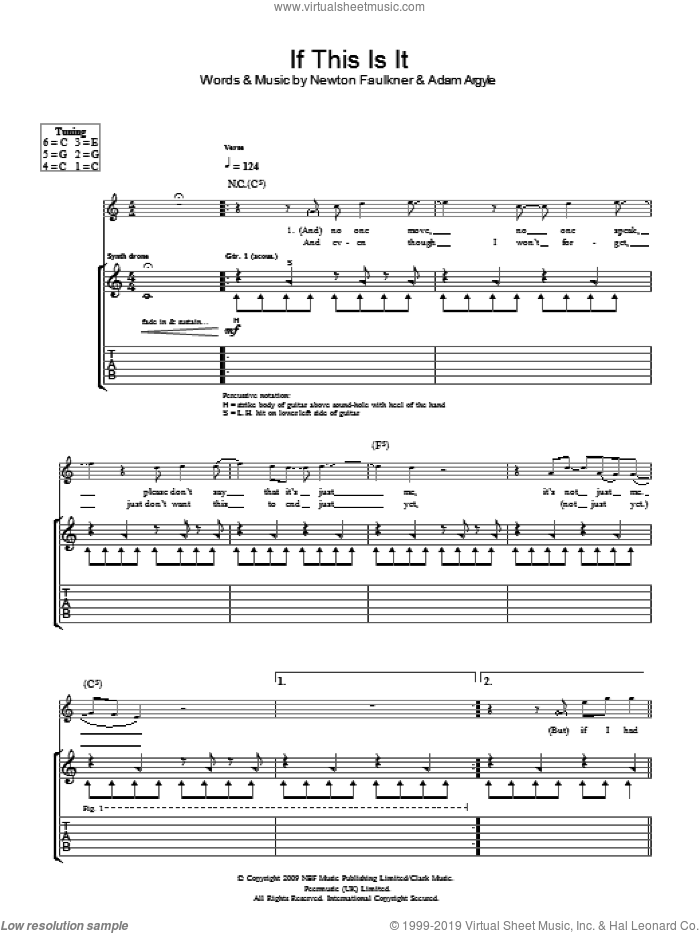 If This Is It sheet music for guitar (tablature) by Adam Argyle and Newton Faulkner. Score Image Preview.