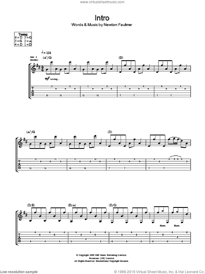 Intro sheet music for guitar (tablature) by Newton Faulkner