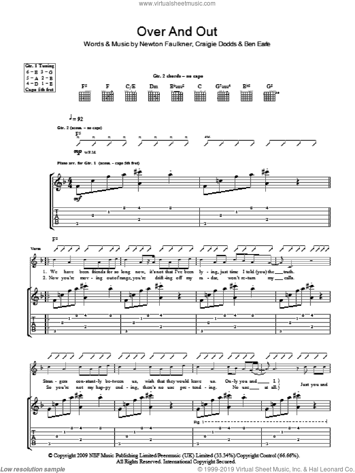 Over And Out sheet music for guitar (tablature) by Newton Faulkner. Score Image Preview.