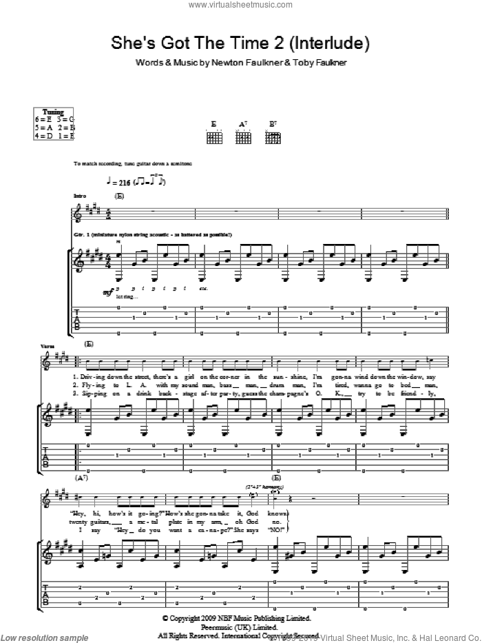 She's Got The Time 2 (Interlude) sheet music for guitar (tablature) by Toby Faulkner and Newton Faulkner
