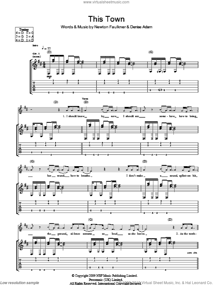 This Town sheet music for guitar (tablature) by Newton Faulkner and Denise Adam, intermediate skill level