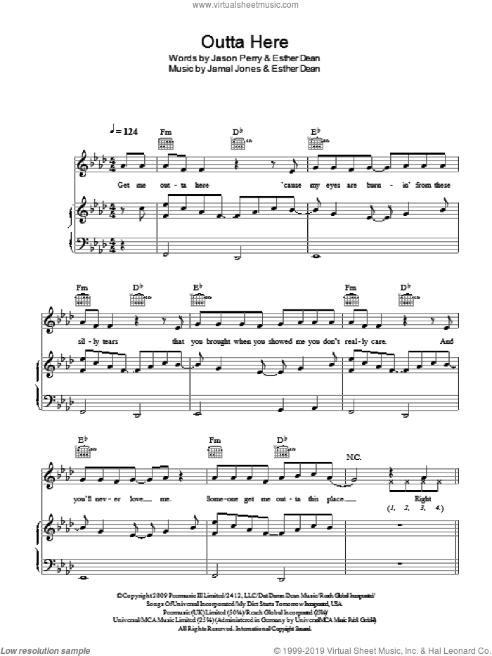 Outta Here sheet music for voice, piano or guitar by Esme Denters, Ester Dean and Jason Perry, intermediate voice, piano or guitar. Score Image Preview.