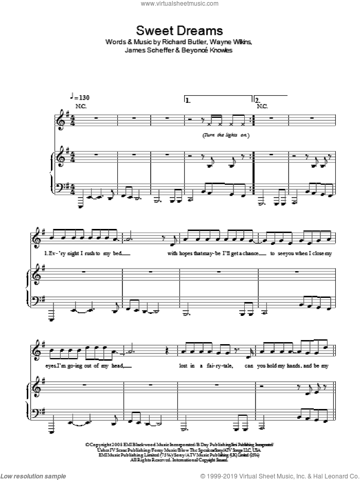 Sweet Dreams sheet music for voice, piano or guitar by Beyonce, Beyonce Knowles and James Scheffer. Score Image Preview.