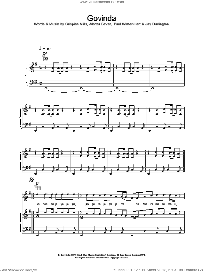 Govinda sheet music for voice, piano or guitar by Kula Shaker, intermediate skill level