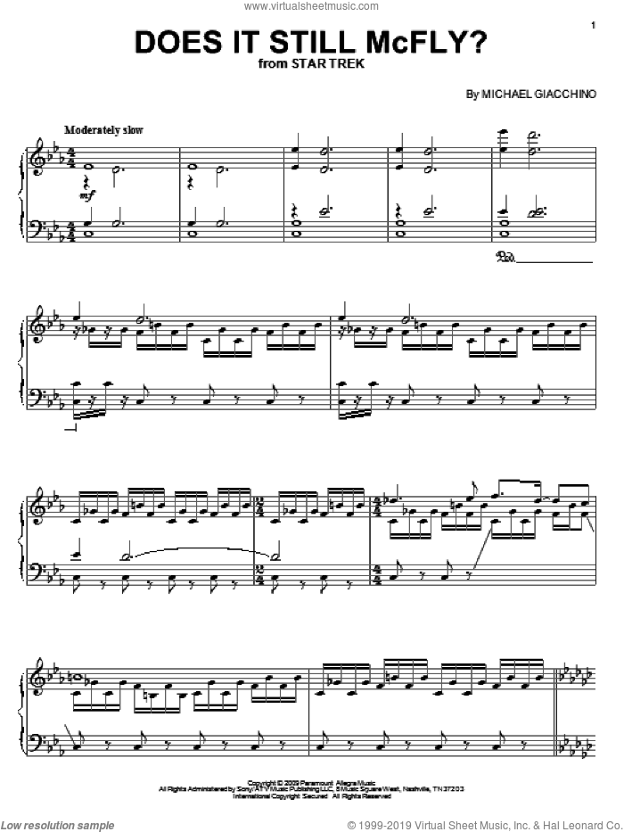 Does It Still McFly? sheet music for piano solo by Michael Giacchino
