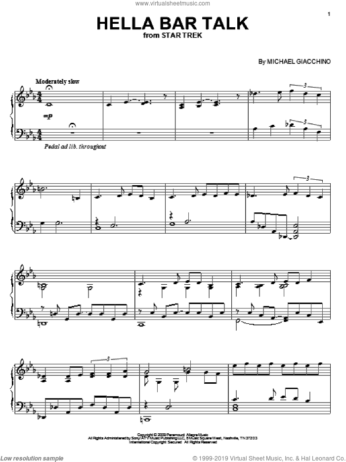 Hella Bar Talk sheet music for piano solo by Michael Giacchino and Star Trek(R), intermediate skill level