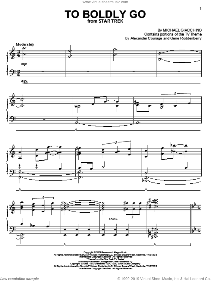 To Boldly Go sheet music for piano solo by Michael Giacchino, Alexander Courage and Gene Roddenberry. Score Image Preview.