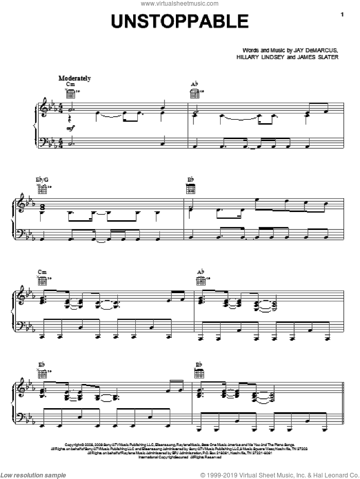 Unstoppable sheet music for voice, piano or guitar by Jay DeMarcus, Rascal Flatts, Hillary Lindsey and James T. Slater. Score Image Preview.