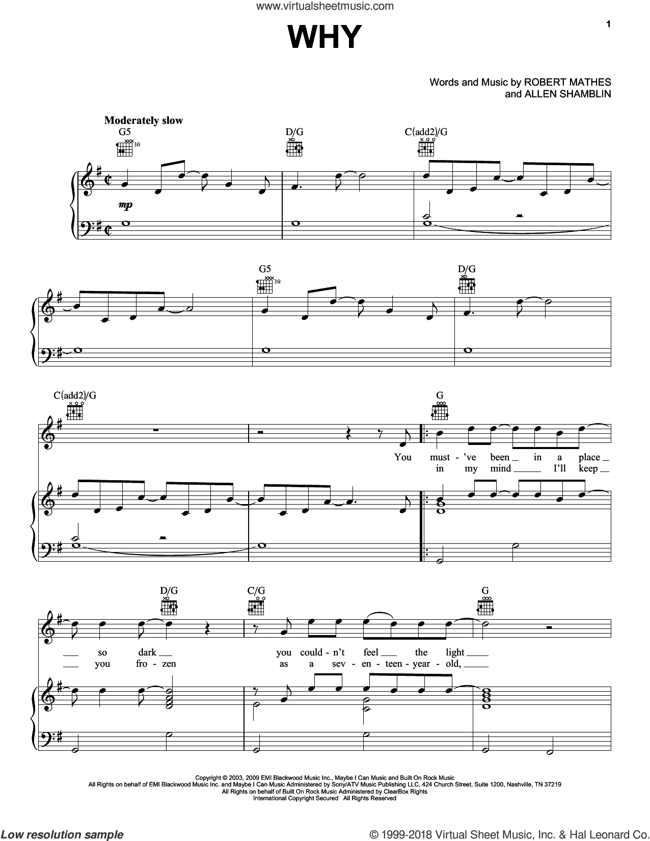 Why sheet music for voice, piano or guitar by Robert Mathes, Rascal Flatts and Allen Shamblin. Score Image Preview.
